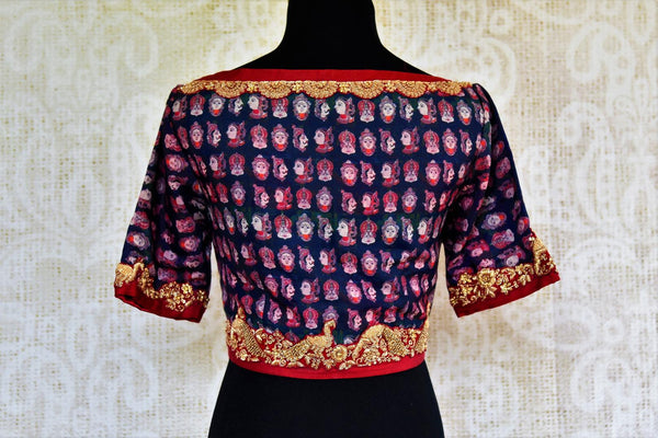 Buy dark blue embroidered printed sari blouse online in USA. Pure Elegance Indian fashion store brings an exclusive range of readymade sari blouses in USA for women.-back