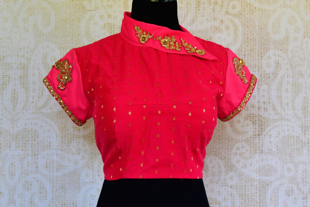 e5a50377d5d9f 402451-RO Pink Embroidered Silk Blouse with High Neck Design—Regular price   135.00