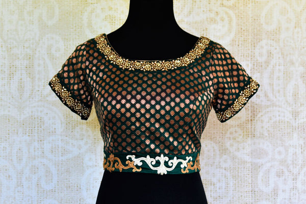 Buy green embroidered Banarasi blouse online in USA. Pure Elegance fashion store brings an alluring range of readymade Indian designer saree blouses in USA for women.-front