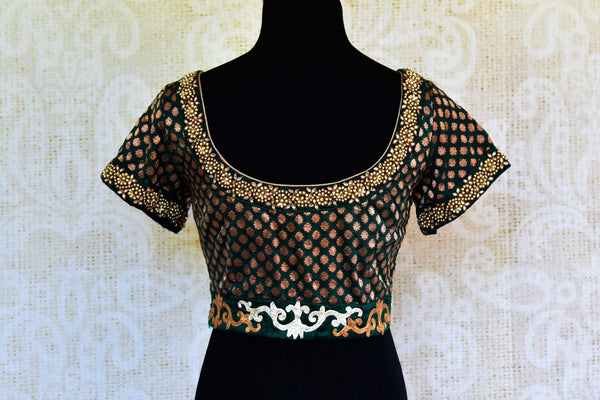 Buy green embroidered Banarasi blouse online in USA. Pure Elegance fashion store brings an alluring range of readymade Indian designer saree blouses in USA for women.-back