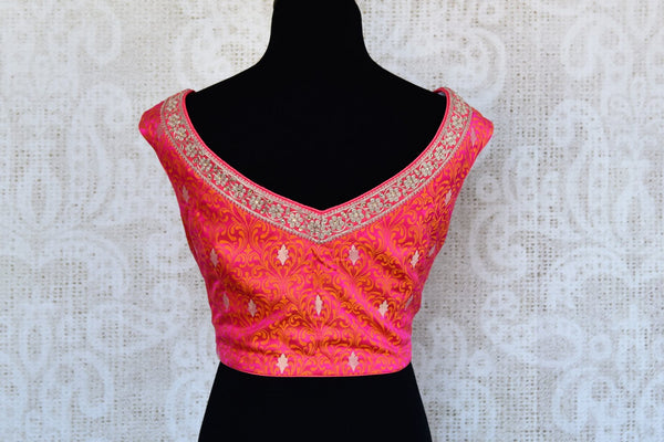 Buy pink embroidered tanchoi silk saree blouse online in USA. Match your sarees with latest designer sari blouses at Pure Elegance Indian clothing store in USA..-back