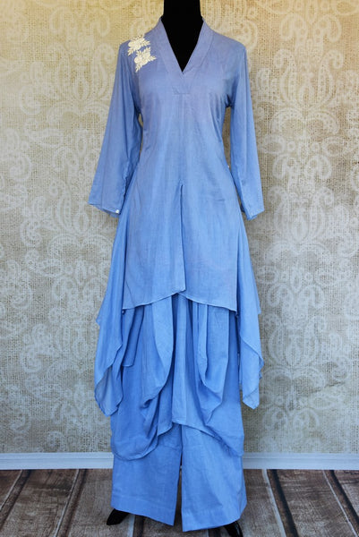 Buy blue chanderi embroidered kurta with palazzo online or from our store in USA. Pure Elegance fashion store brings an exclusive range of Indian dresses in USA for parties. -full view