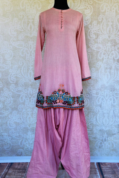 Buy pink chanderi kurta salwar set online in USA. Pure Elegance clothing store brings an exquisite range of ethnic Indian Salwar suits for online shopping in USA.-full view