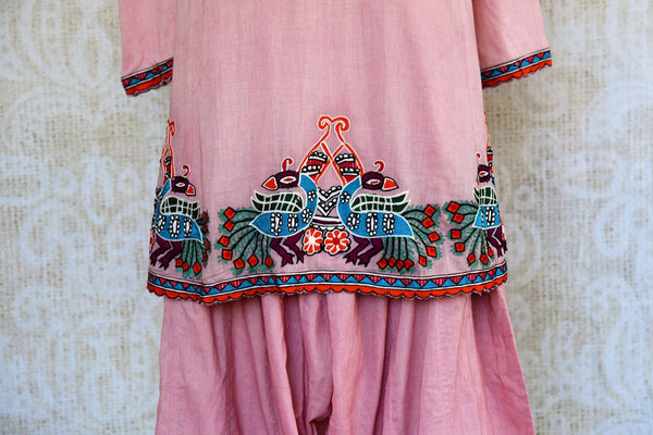 Buy pink chanderi kurta salwar set online in USA. Pure Elegance clothing store brings an exquisite range of ethnic Indian Salwar suits for online shopping in USA.-closeup
