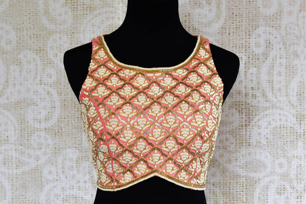 Buy pink pearl embroidered saree blouse online in USA. Pure Elegance clothing store brings an exquisite range of Indian designer saree blouses in USA for women. -front