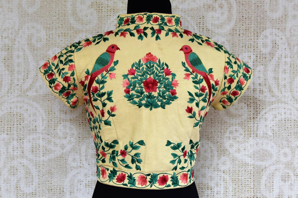 Buy off white embroidered raw silk saree blouse online in USA. Pure Elegance clothing store brings an exquisite range of Indian readymade saree blouses in USA for women.  -back