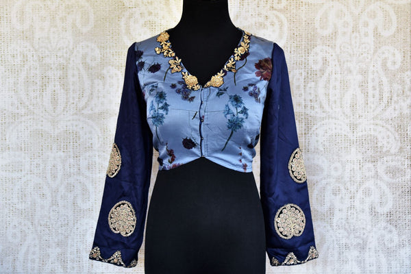 Buy blue satin crepe printed and embroidered sari blouse online in USA. Pure Elegance clothing store brings an alluring range of Indian saree blouses in USA for women. -front