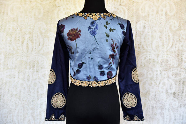 Buy blue satin crepe printed and embroidered sari blouse online in USA. Pure Elegance clothing store brings an alluring range of Indian saree blouses in USA for women. -back