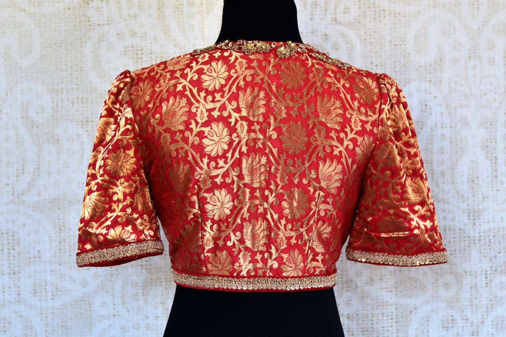 2008772eba631b Buy red Banarasi embroidered readymade saree blouse online in USA. Pure  Elegance clothing store brings