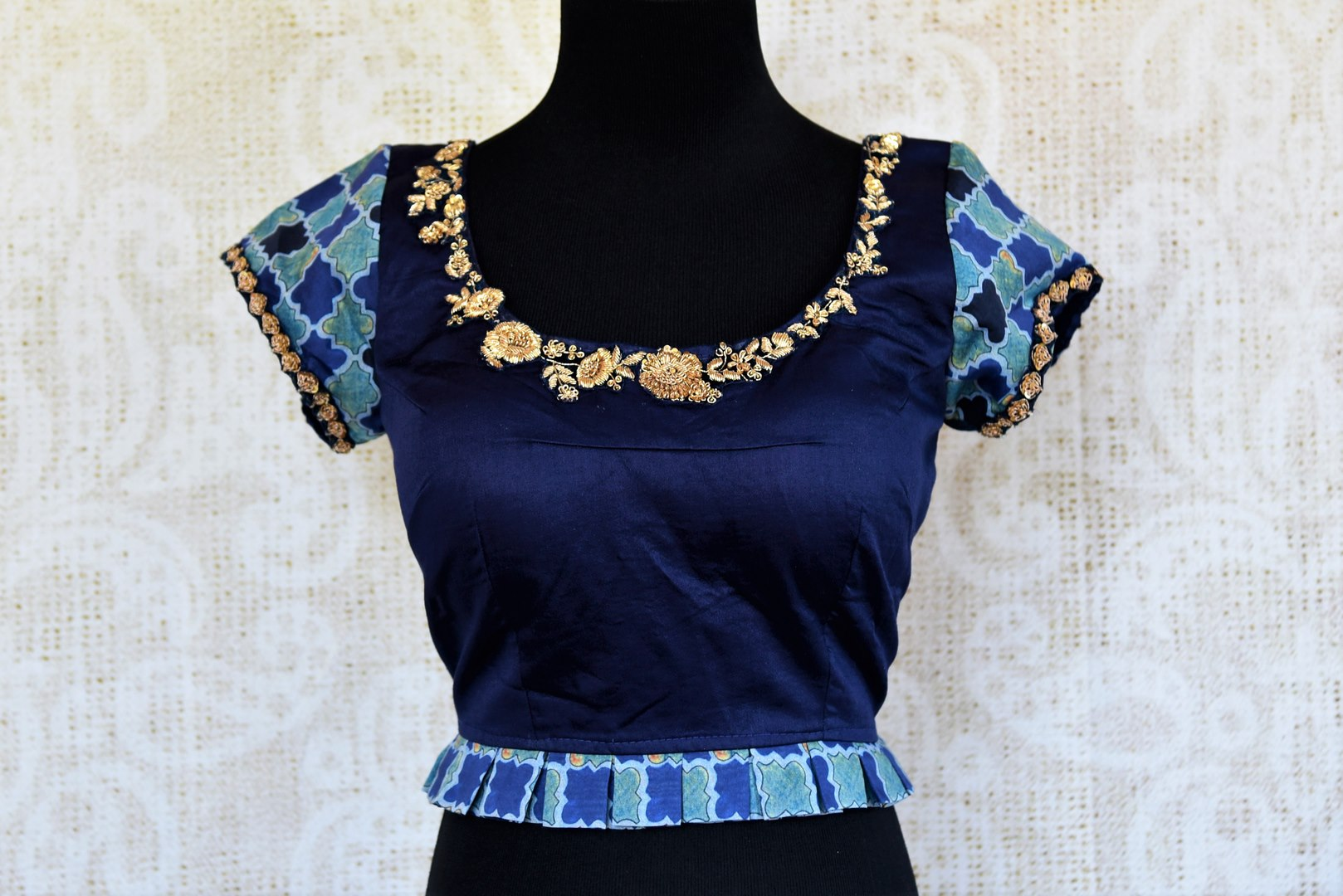de6e88fa546d3 Buy blue printed cotton silk embroidered readymade saree blouse online in  USA. Pure Elegance clothing