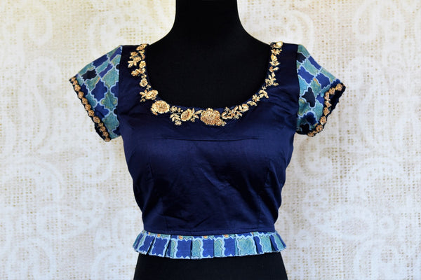Buy blue printed cotton silk embroidered readymade saree blouse online in USA. Pure Elegance clothing store brings an alluring range of Indian sari blouses in USA.-front