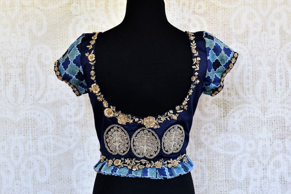 Buy blue printed cotton silk embroidered readymade saree blouse online in USA. Pure Elegance clothing store brings an alluring range of Indian sari blouses in USA.-back