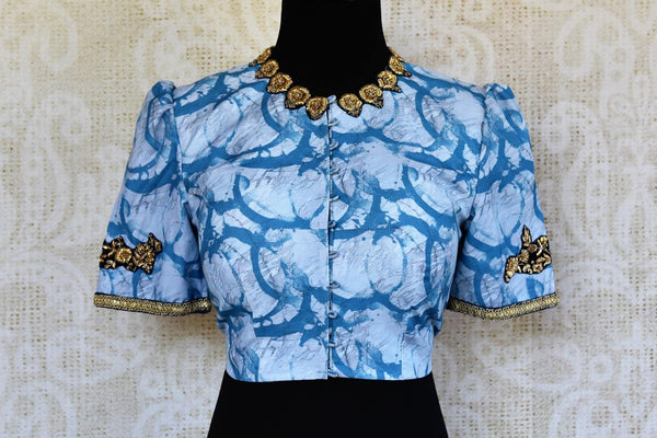 Buy blue printed cotton silk embroidered saree blouse online in USA. Pure Elegance clothing store brings an alluring range of Indian designer saree blouses in USA.-front