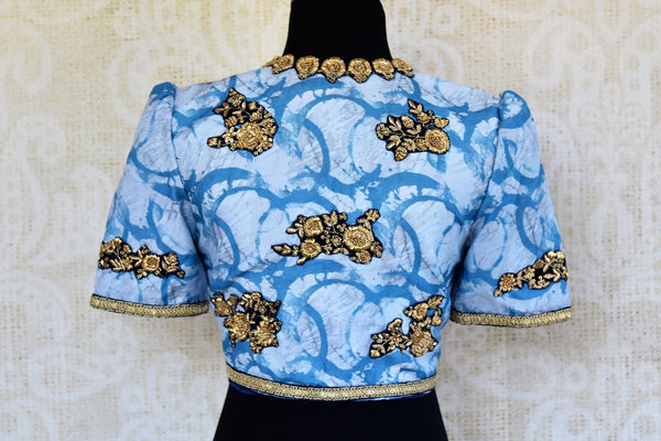 Buy blue printed cotton silk embroidered saree blouse online in USA. Pure Elegance clothing store brings an alluring range of Indian designer saree blouses in USA.-back