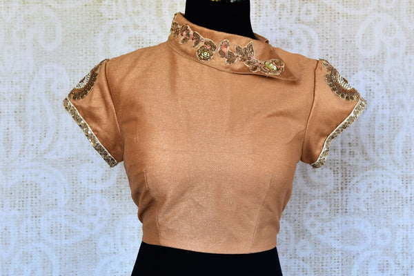 Buy gold silk embroidered saree blouse online in USA. Pure Elegance clothing store brings an alluring range of Indian readymade sari blouses in USA. Shop online.-full view