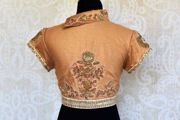 Buy gold silk embroidered saree blouse online in USA. Pure Elegance clothing store brings an alluring range of Indian readymade sari blouses in USA. Shop online.-back