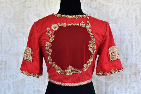 Buy red cotton net embroidered saree blouse online in USA. Pure Elegance clothing store brings an alluring range of Indian readymade sari blouses in USA. Shop online.-back