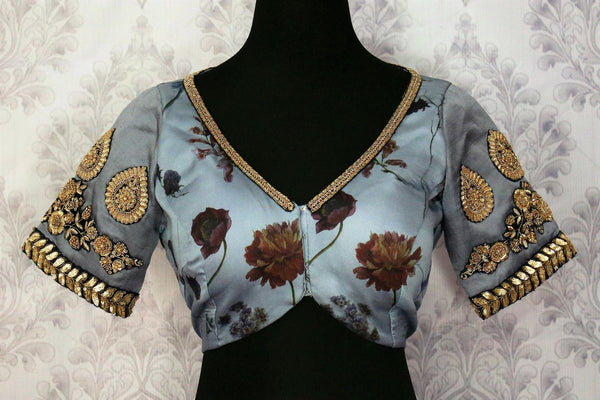 Buy bluish grey embroidered floral print sari blouse online in USA. Pure Elegance fashion store brings an exquisite range of Indian designer saree blouses in USA.-front