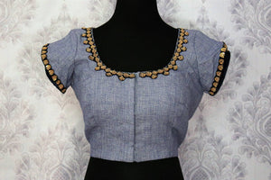 ba0fcf61b466c Buy blue embroidered readymade saree blouse online in USA. Pure Elegance  fashion store brings an