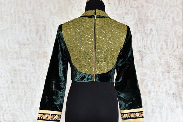 Buy green embroidered velvet saree blouse online in USA. Choose from a range of exclusive designer saree blouses from Pure Elegance Indian Clothing Store in USA.-back