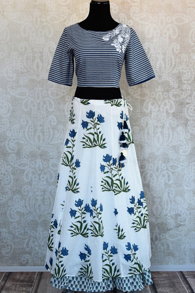Buy blue and white embroidered crop top with printed skirt online in USA Keep your style quotient up with exquisite Indian dresses at Pure Elegance online store in USA. -full view