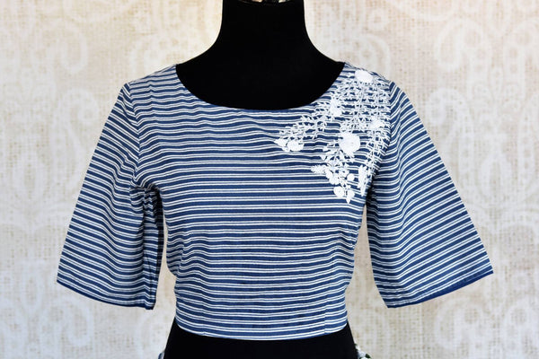 Buy blue and white embroidered crop top with printed skirt online in USA Keep your style quotient up with exquisite Indian dresses at Pure Elegance online store in USA. -top