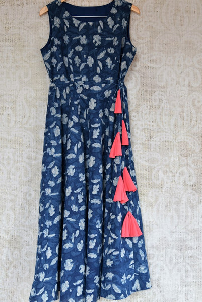 Buy blue printed linen Indowestern dress online at USA at Pure Elegance Indian clothing store. Find your stylish Indian dresses in exquisite designs for every occasion.-full view
