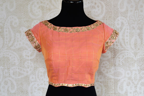 Buy peach chanderi silk embroidered saree blouse online in USA. Find your sari match from a range of stylish Indian sari blouses at Pure Elegance Clothing Store in USA.-front
