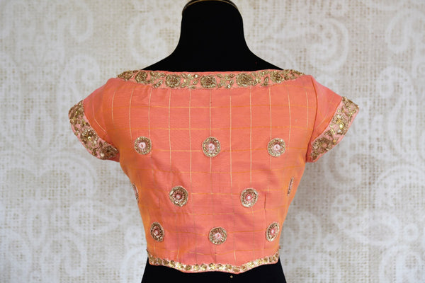 Buy peach chanderi silk embroidered saree blouse online in USA. Find your sari match from a range of stylish Indian sari blouses at Pure Elegance Clothing Store in USA.-back