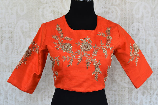 Buy orange embroidered raw silk saree blouse online in USA. Match your sarees with latest designer saree blouses at Pure Elegance Indian clothing store in USA.-full view