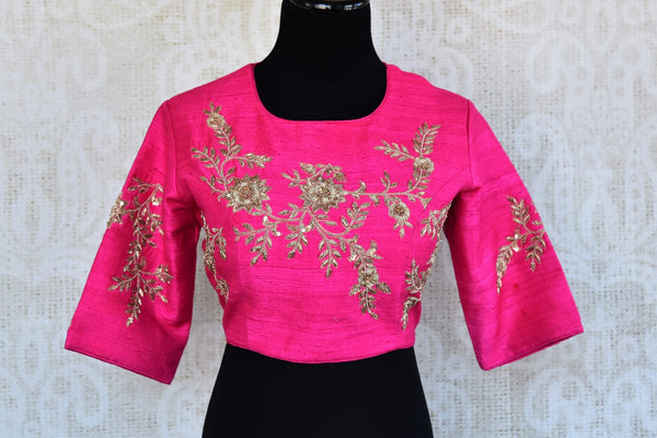 Buy pink embroidered silk saree blouse online in USA. Add elegance to your Indian sarees with exquisite designer saree blouses at Pure Elegance store. Shop online.-full view