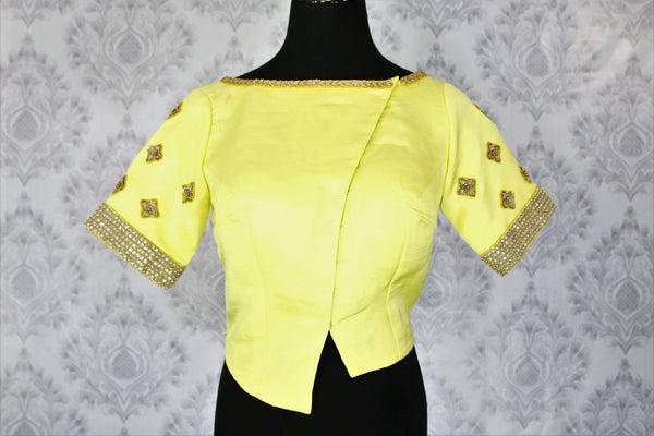Lemon yellow embroidered saree blouse buy online in USA. Shop from a range of latest Indian designer saree blouses at Pure Elegance clothing store for women.-full view