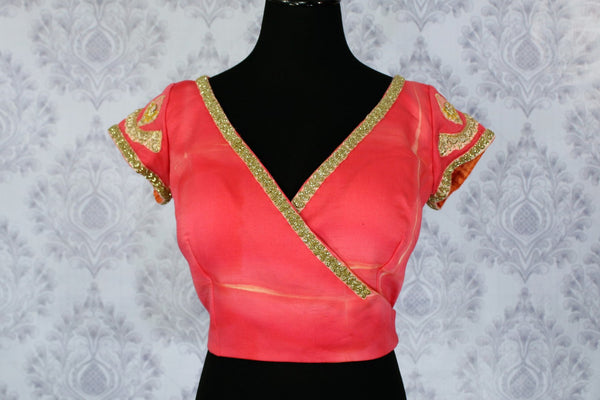 Pink embroidered designer saree blouse buy online in USA. Shop from a range of latest Indian readymade saree blouses at Pure Elegance clothing store for women.-full view