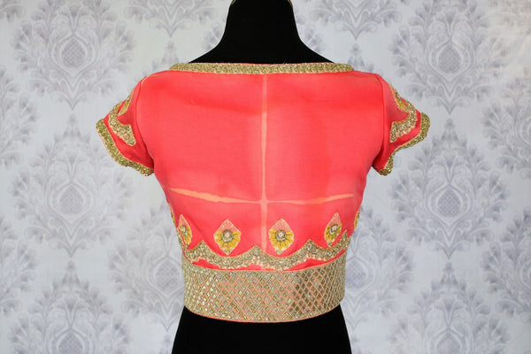 Pink embroidered designer saree blouse buy online in USA. Shop from a range of latest Indian readymade saree blouses at Pure Elegance clothing store for women.-back