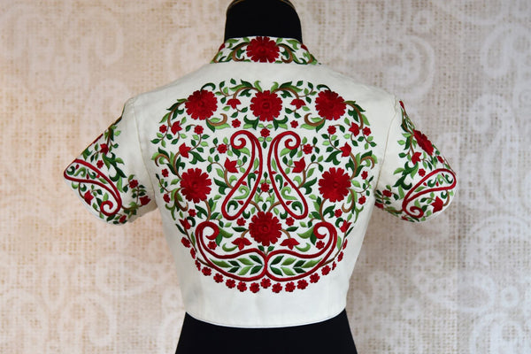 Buy white embroidered raw silk saree blouse online at USA at Pure Elegance Indian fashion store. Find beautiful readymade saree blouses in exquisite designs for women.-back
