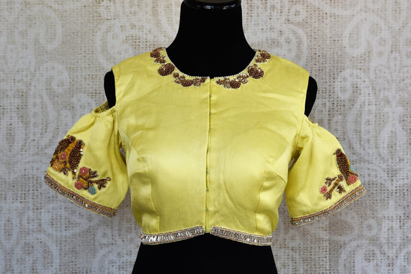 Lemon yellow embroidered cold shoulder sari blouse buy online in USA. For an elegant Indian style, choose designer saree blouses at Pure Elegance store to match your sarees.-full view