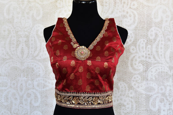 Maroon embroidered sleeveless saree blouse buy online in USA. For an elegant Indian style, choose readymade saree blouses at Pure Elegance online store to match your sarees.-full view