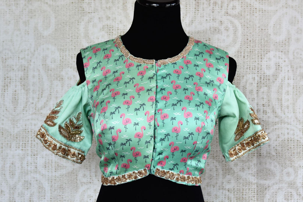 Green printed embroidered cold shoulder sari blouse buy online in USA. For an elegant Indian style, choose readymade saree blouses at Pure Elegance online store.-full view