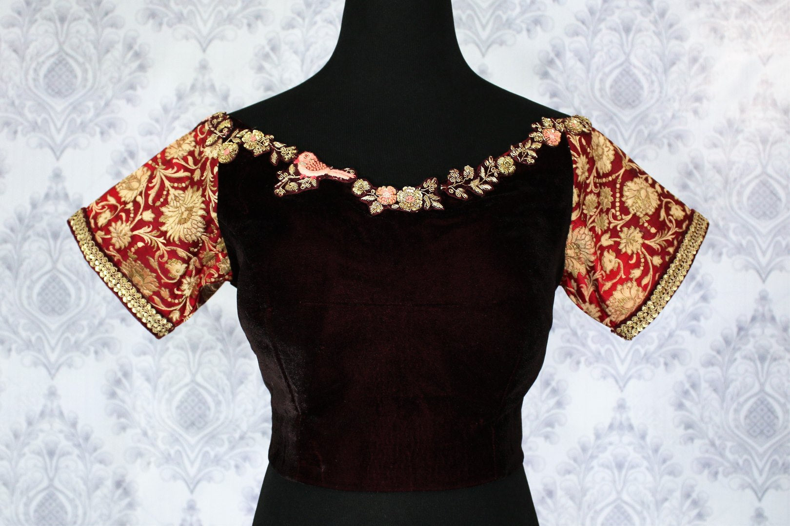 5394335e93d022 Buy maroon embroidered velvet sari blouse online in USA. Pure Elegance  Indian clothing store brings