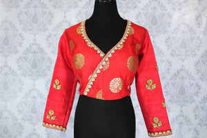 7b6343a298b2ba Buy ethnic red embroidered Banarasi saree blouse online in USA. Pure  Elegance Indian clothing store