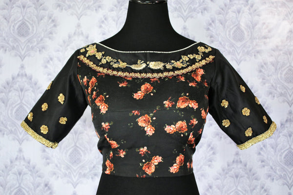 Buy elegant black floral print embroidered designer sari blouse online in USA. Pure Elegance Indian fashion store brings an exquisite range of readymade saree blouses in USA to match your gorgeous Indian sarees. Glam up your ethnic look with stylish Indian sari blouses for weddings and parties.-front