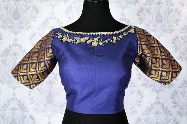 Buy beautiful royal blue embroidered designer sari blouse online in USA. Pure Elegance Indian fashion store brings an exclusively curated range of readymade saree blouses in USA to match your gorgeous Indian saris. Glam up your Indian look with stylish Indian saree blouses for weddings and parties.-front