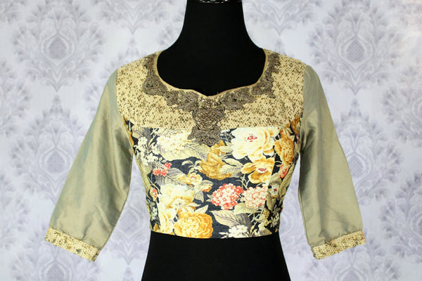 Beautiful golden green printed embroidered saree blouse buy online in USA. Pure Elegance Indian fashion store brings an exclusively curated range of designer saree blouses in USA to match your gorgeous Indian sarees.-front