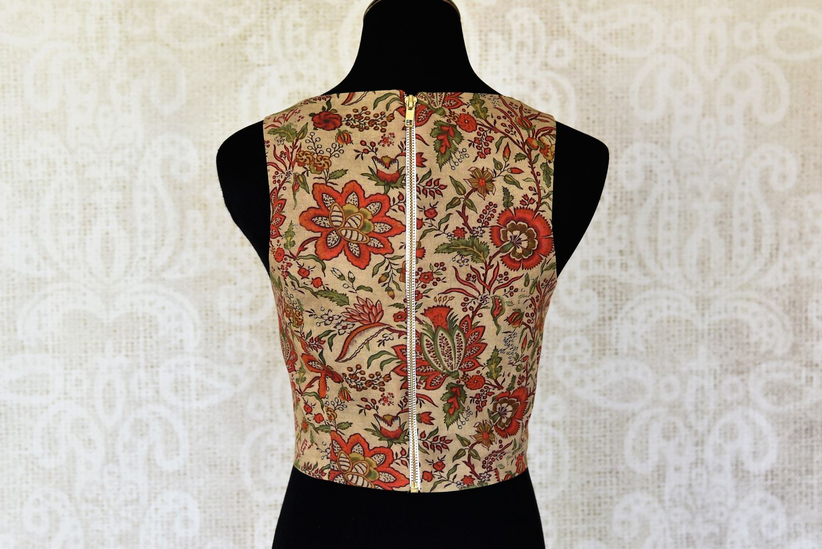 Buy beige printed sleeveless cotton saree blouse online in USA. Elevate your traditional Indian sarees with matching and contrasting saree blouses from Pure Elegance Indian clothing store in USA.-back