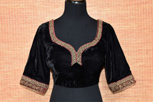 Buy black embroidered velvet readymade saree blouse online in USA. Elevate your traditional saree glam on weddings and special occasions with an exclusive range of designer saree blouses especially for Indian women in USA at Pure Elegance Indian fashion store. Shop now.-front