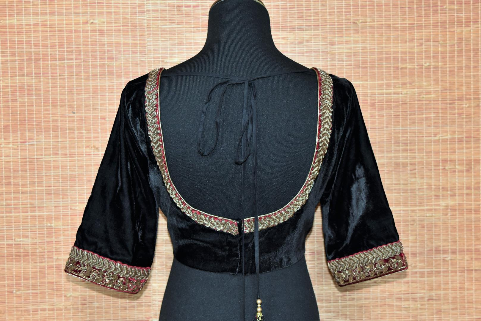 Buy black embroidered velvet readymade saree blouse online in USA. Elevate your traditional saree glam on weddings and special occasions with an exclusive range of designer saree blouses especially for Indian women in USA at Pure Elegance Indian fashion store. Shop now.-back