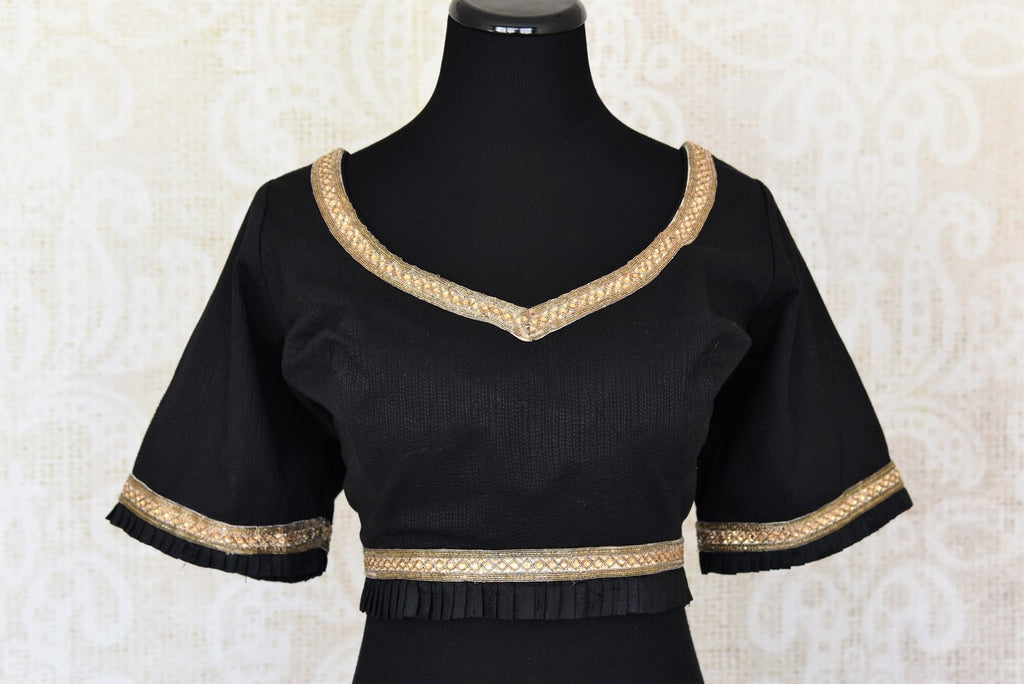 Shop black embroidered cotton designer saree blouse online in USA. Elevate your traditional Indian sarees with matching and contrasting readymade saree blouses from Pure Elegance Indian clothing store in USA.-front