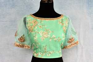 Buy pastel green thread embroidery readymade silk saree blouse online in USA. The blouse is a perfect match to add brightness to your Indian sarees. Shop beautiful Indian designer sari blouse in USA from Pure Elegance exclusive Indian clothing store in USA or shop online.-front