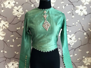 Buy green chanderi silk embroidered full sleeves saree blouse online in USA. Enhance your traditional saree look with a splendid range of designer sari blouses from Pure Elegance Indian fashion store in USA.-front