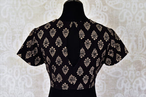 Shop black printed and embroidered cotton saree blouse online in USA. Match your designer sarees with a range of stylish readymade saree blouses from Pure Elegance clothing store in USA. Shop now.-back